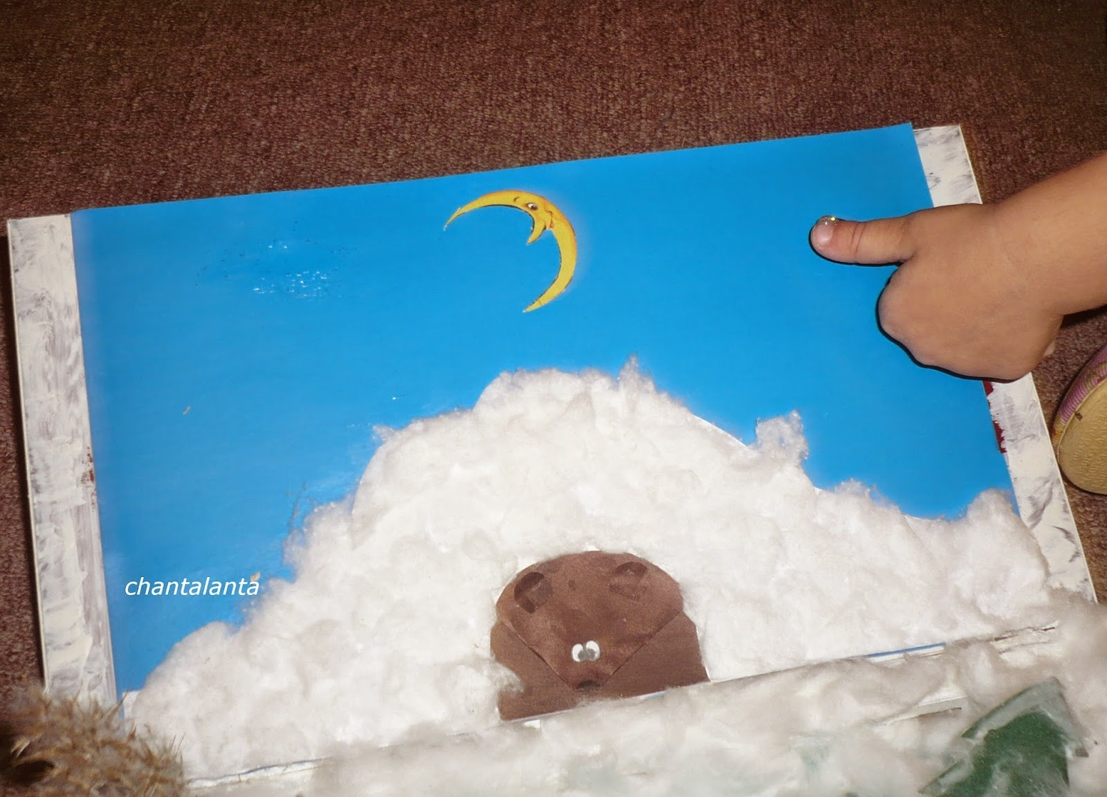 Поделка из пенопласта медведь в берлоге