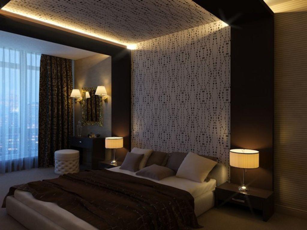 Интерьер спальни с шоколадными обоями фото