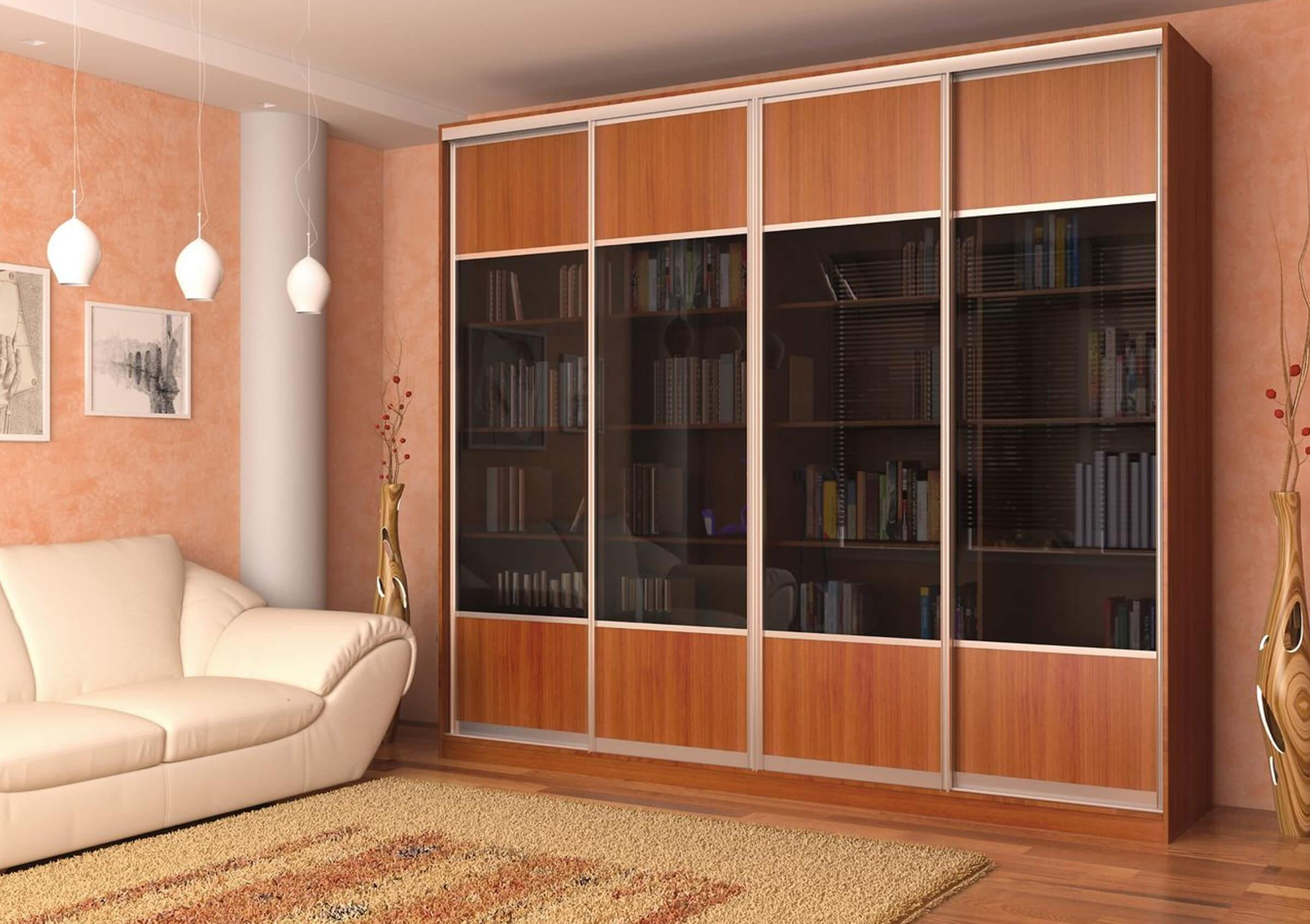 Шкаф купе под книги со стеклянными дверями в гостиную фабрик.
