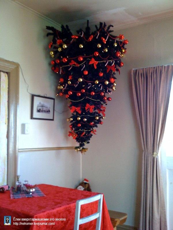 как установить елку на потолок