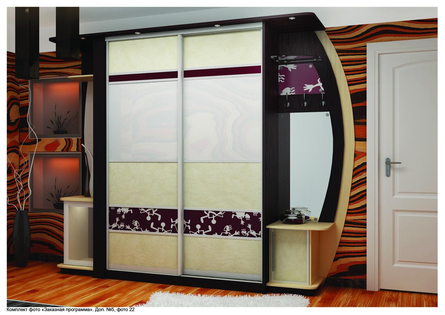 Используемые материалы для шкафов-купе : дсп, зеркало, цветн.