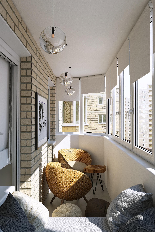 Дизайн балкона темный кирпич.