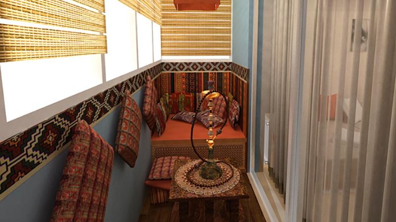 Дизайн лоджии. 3d-интерьер балкона в классическом и восточно.