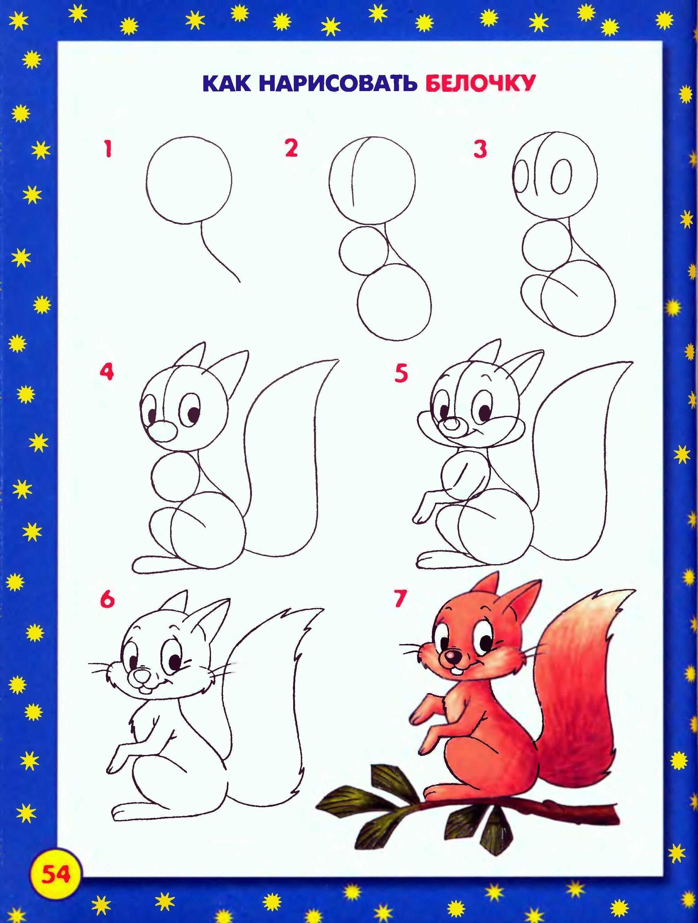 Рисунки по этапом карандашом мультяшки 7