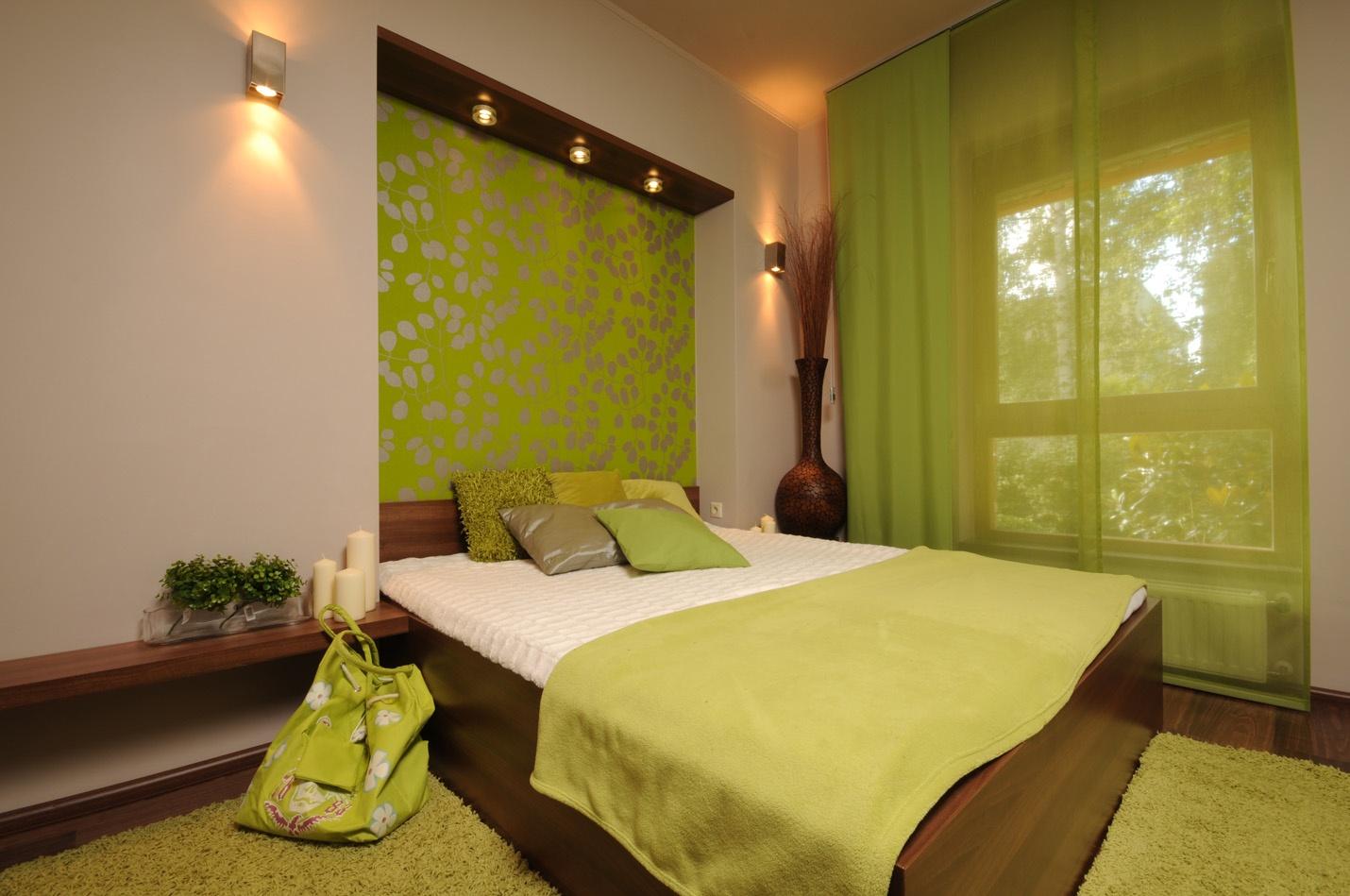Зеленый цвет в интерьере спальни: дизайнерские концепции и в.