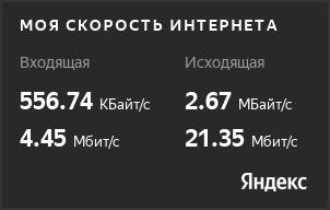 Скорость сервера в Москве по yandex.ru/internet/
