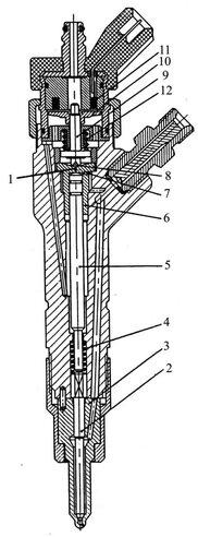 <p>Общий вид форсунки системы «Коммон рейл» фирмы «Бош» показан на рисунке.</p><p><img alt=